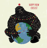 Crisis monkey and world card or placard. Royalty Free Stock Photography