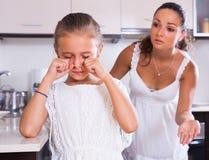 Crisis of motherhood. Women preaching unhappy daughter Royalty Free Stock Image