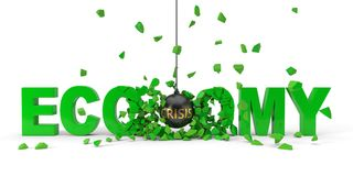 Crisis named wrecking ball is breaking green economy word. 3d illustration. Crisis named wrecking ball is breaking green economy word from center. 3d Stock Images