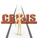 Crisis obstructs the way ahead for man Royalty Free Stock Photography