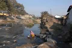 Crisis. Once a river have become canal due to continuous changing the internal geographic features. Due to occupy the land Jharia people turn to refugee. Every Royalty Free Stock Image