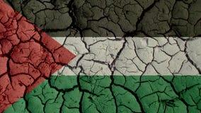 Crisis política o grietas ambientales del fango del concepto con la bandera de Palestina imágenes de archivo libres de regalías
