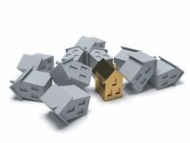 Crisis of real estate. Conceptual 3d illustration. Stock Photography