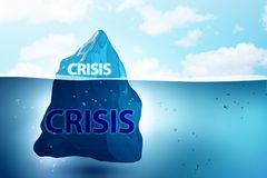 The crisis and recession concept with iceberg - 3d rendering. Crisis and recession concept with iceberg - 3d rendering stock photography