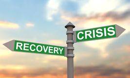Crisis and recovery signpost Stock Photos