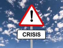 Crisis road sign and sky Royalty Free Stock Photography