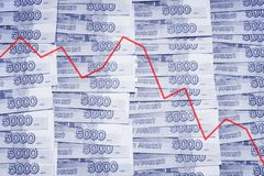Crisis in Russia. 5000 Russian Roubles background. Stock Image