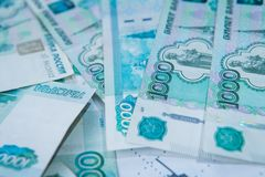 Crisis in Russia. Russian Roubles course Royalty Free Stock Photography