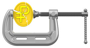 The crisis of the Russian economy. Concept. Cracked gold coin with the symbol of the Russian ruble is clamped in the clamp. Financial concept. Isolated. 3D Stock Photos