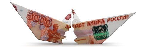 The crisis of the Russian economy. Concept. Torn paper boat made from an Russian banknote ruble on a white surface. Isolated. 3D Illustration Stock Images