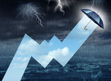 Crisis Shelter. From the storm business concept as a dangerous dark raining sky with lightning contrasted by an umbrella drawing a stock market profit chart Royalty Free Stock Image