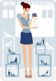 Crisis shopping. The girl in shoe shop without money Stock Image