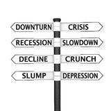 Crisis signpost. Eight pointers related to economic crisis pointing in two opposite directions Royalty Free Stock Photos