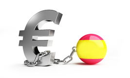 Crisis in Spain. Financial crisis in Spain isolated on a white background royalty free illustration