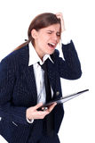 Crisis stressed businesswoman Stock Images