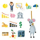 Crisis symbols concept. Crisis symbols concept problem economy banking business finance design investment icon vector illustration. Money collapse depression Stock Image