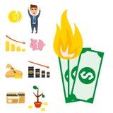 Crisis symbols concept problem economy banking business. Finance design investment icon vector illustration. Money collapse depression credit economic Stock Photo