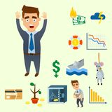 Crisis symbols concept problem economy banking business finance design. Investment icon vector illustration. Money collapse depression credit economic Royalty Free Stock Image