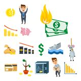 Crisis symbols concept problem economy banking business finance design. Crisis symbols concept problem economy banking business finance design investment icon Royalty Free Stock Photography