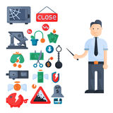 Crisis symbols concept problem economy banking business finance design investment icon vector. Crisis symbols concept and problem economy banking business Stock Photography