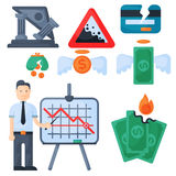 Crisis symbols concept problem economy banking business finance design investment icon vector. Crisis symbols concept and problem economy banking business Royalty Free Stock Photo