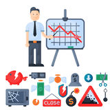 Crisis symbols concept problem economy banking business finance design investment icon vector. Stock Photos