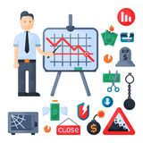 Crisis symbols concept problem economy banking business finance design investment icon vector. Crisis symbols concept and problem economy banking business Stock Images