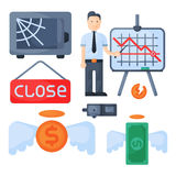 Crisis symbols concept problem economy banking business finance design investment icon vector. Crisis symbols concept and problem economy banking business Royalty Free Stock Image