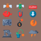 Crisis symbols concept problem economy banking business finance design investment icon vector. Crisis symbols concept and problem economy banking business Stock Image