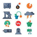 Crisis symbols concept problem economy banking business finance design investment icon vector. Crisis symbols concept and problem economy banking business Stock Photo
