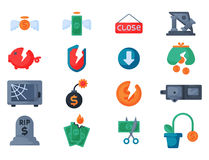 Crisis symbols concept problem economy banking business finance design investment icon vector. Crisis symbols concept and problem economy banking business Royalty Free Stock Images