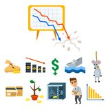 Crisis symbols concept problem economy banking business finance design investment icon vector illustration. Money collapse depression credit economic Royalty Free Stock Images