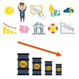 Crisis symbols concept problem economy banking business finance design investment icon vector illustration. Money collapse depression credit economic Royalty Free Stock Photography