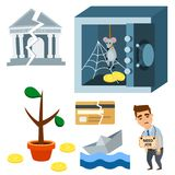 Crisis symbols concept problem economy banking business finance design investment icon vector illustration. Money collapse depression credit economic Stock Images