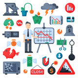 Crisis symbols concept problem economy banking business finance design investment icons set vector. Crisis symbols concept and problem economy banking business Stock Photography