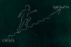 From crisis to growth, man climbing stairs metaphor Stock Photography