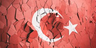 Turkey flag on cracked wall background. 3d illustration. Crisis in Turkey. Turkish flag on cracked wall background. 3d illustration vector illustration
