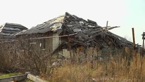 A crisis in Ukraine. A scenic shot of ruined place in Ukraine stock video