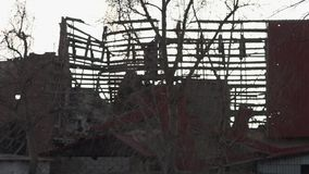 A crisis in Ukraine. A scenic shot of ruined place in Ukraine stock video footage