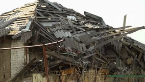 A crisis in Ukraine. A scenic shot of ruined place in Ukraine stock footage