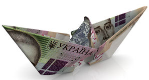 The crisis of the Ukrainian economy. Concept. Torn paper boat made from an Ukrainian banknote hryvnia on a white surface. Isolated. 3D Illustration Stock Photo