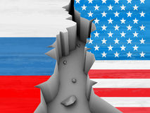 Crisis. Between USA and Russia stock illustration