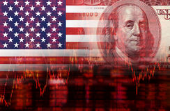 Crisis in USA shares fall graph. On United States of America flag with face of Benjamin Franklin from one hundred dollars bill royalty free illustration