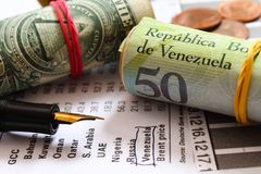 Crisis in Venezuela - Energy crisis - Economic crisis - Oil price. Stock exchange - Energy crisis - Economic crisis - Oil price change - Crisis in Venezuela Royalty Free Stock Photos