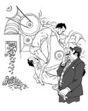 Crisis? What Crisis?. Drawing  representing a capitalist businessman who makes money by using the back of the poor men as the gearing Stock Photography