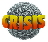 Crisis Word Emergency Problem Trouble Exclamation Point Sphere Stock Photography