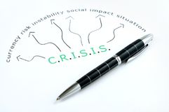 Crisis word. Scheme and pen Royalty Free Stock Photos