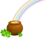 Crisol con oro en la base de un arco iris Imágenes de archivo libres de regalías