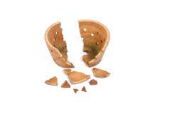 Crisol de arcilla antiguo quebrado Fotografía de archivo