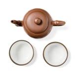 Crisol de cerámica y dos tazas Fotografía de archivo libre de regalías